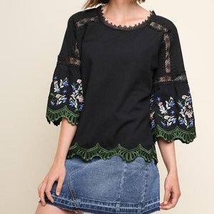 Umgee bLACK Floral Embroidered Bell Sleeve shirt